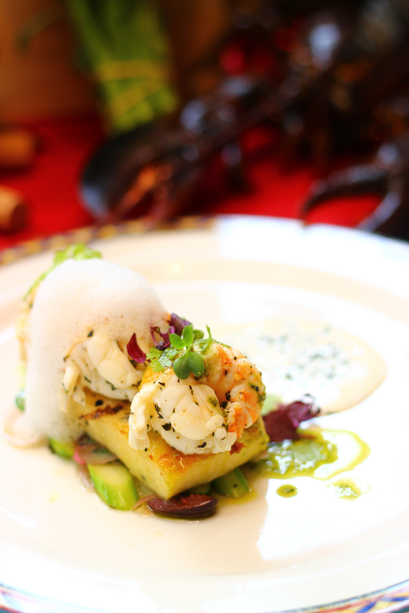 Grilled Polenta with Herbs, Steamed Kiwi Lobster served with Salsa ...