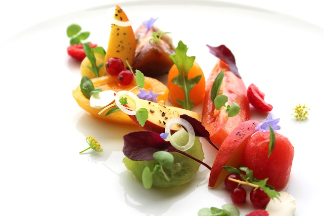 The heirloom tomato salad at Restaurant Petrus is one of our all-time ...