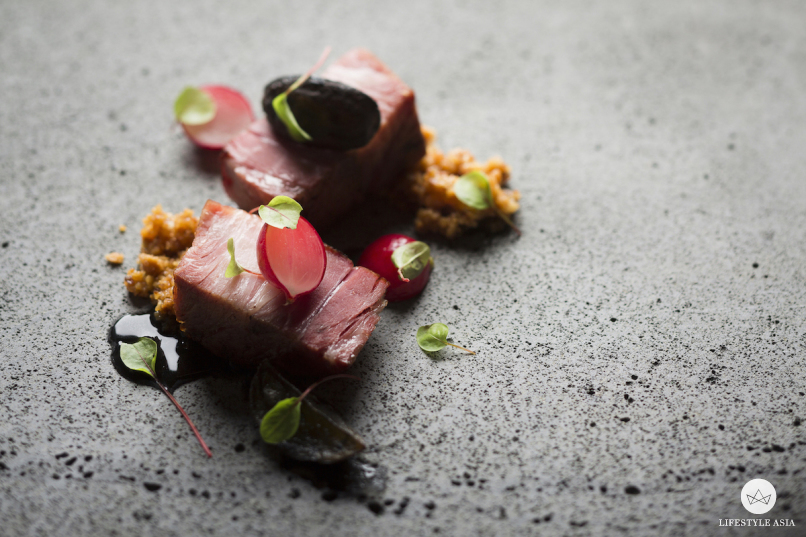 Pork Collar, Radishes and Praline_1
