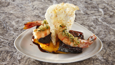 BCC_Caramelized pork belly, grilled prawns, sweet potato & chorizo
