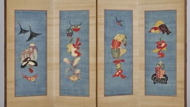 'Characters and motifs of the four seasons' by Keisuke Serizawa, folding screen