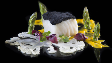 il Cielo MSC-certified Slow cooked Glacier 51 Toothfish in Smoked Herbs, roasted pumpkin cream, asparagus and cauliflower copy 2