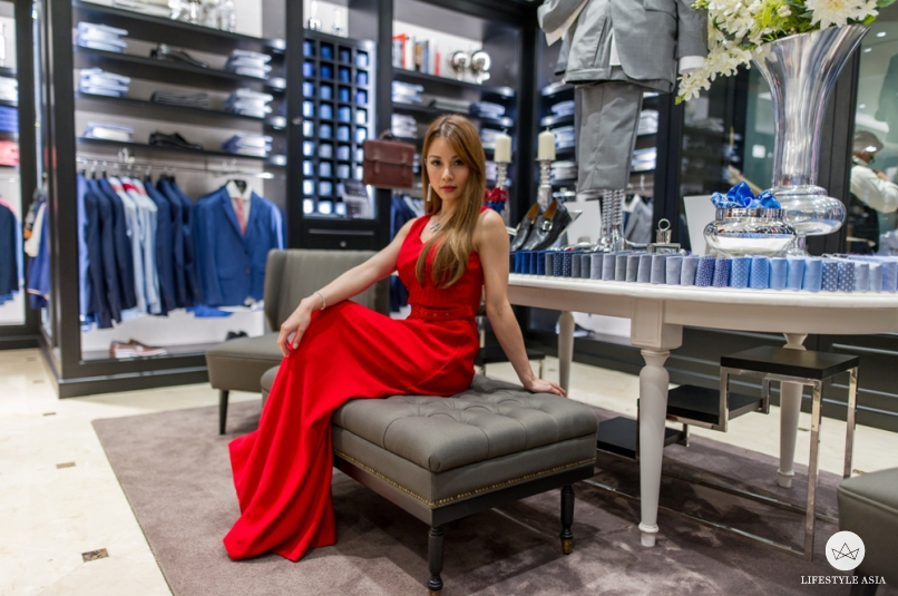 Lady in red - Hannah looks ravishing in her red, tailored-to-fit Sacoor Brothers dress at the opening of the brand's new boutique at Suria KLCC.
