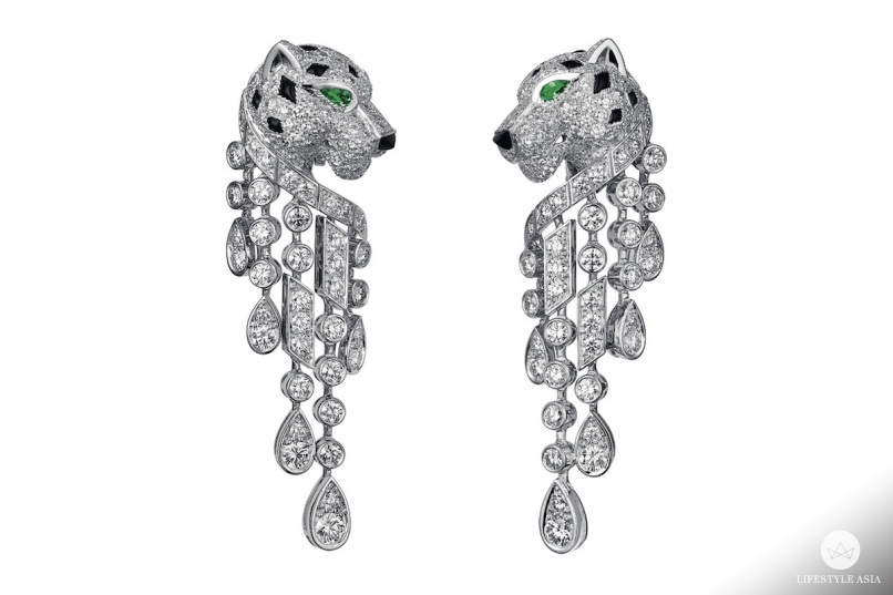 Panthäre de Cartier earrings, platinum, emerald eyes, onyx nose, diamonds copy