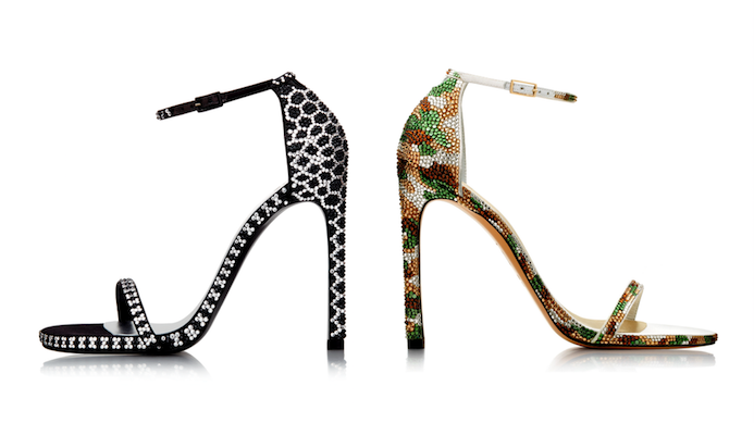 Stuart Weitzman black and white camouflage heels revised