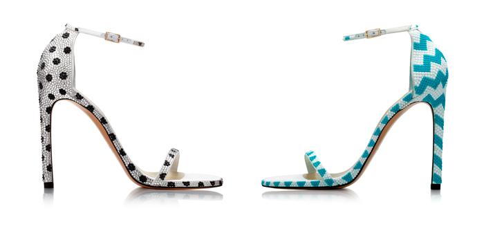 Stuart Weitzman white and blue heels